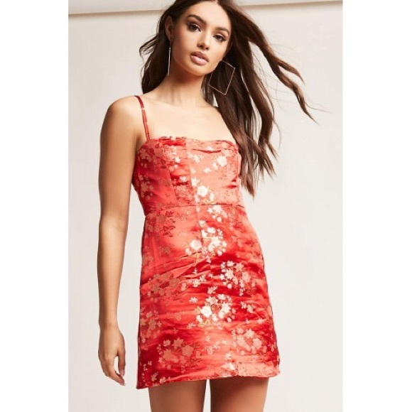 f9c141807ad Forever 21 Dresses   Skirts - Forever 21 Oriental Satin Red Floral Dress sz.